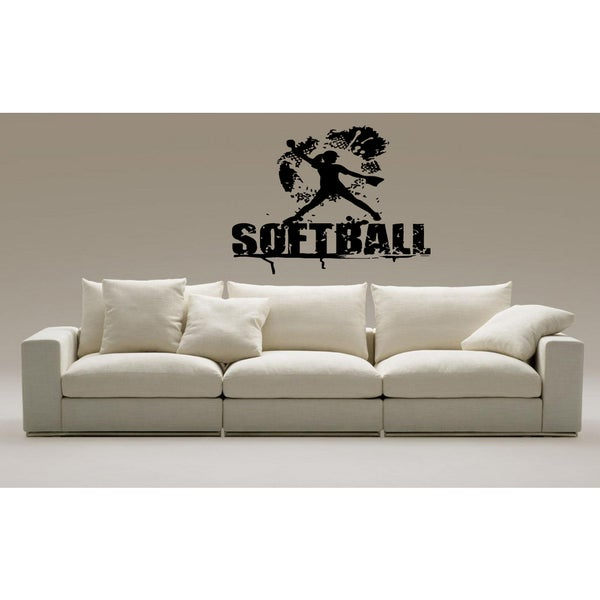 Shop Softball Girl Inscription Wall Art Sticker Decal - Free Shipping On Orders Over -1487