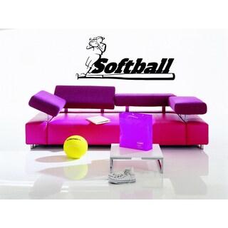 Softball Ball and Bat Game inscription Wall Art Sticker Decal