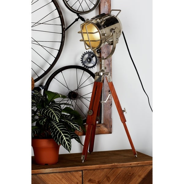 Industrial 27 Inch Brass and Wood Tripod Spot Light by Studio 350