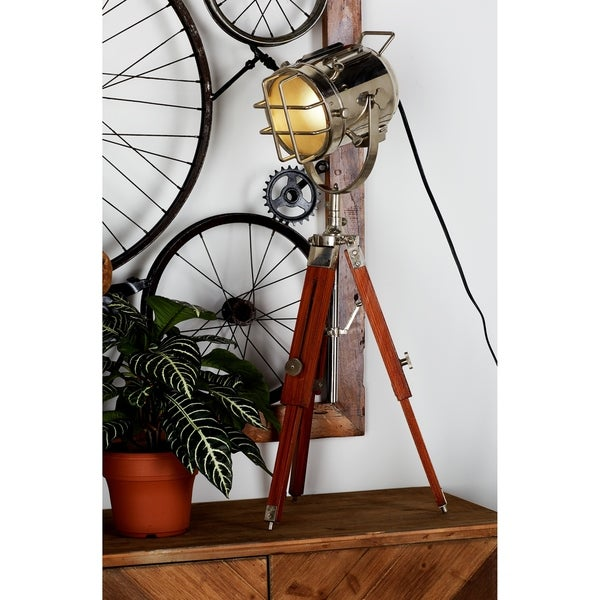 "Industrial Brass Wood Tripod Spot Light 27""H by Studio 350"