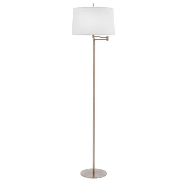 62-inch Metal Swing Arm Floor Lamp in Brushed Steel