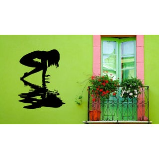 Silhouette of Girls and water Wall Art Sticker Decal