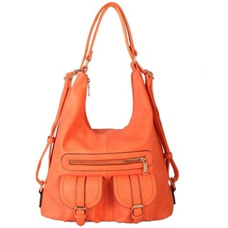 Diophy Faux Leather Double Front Pocket Hobo Handbag