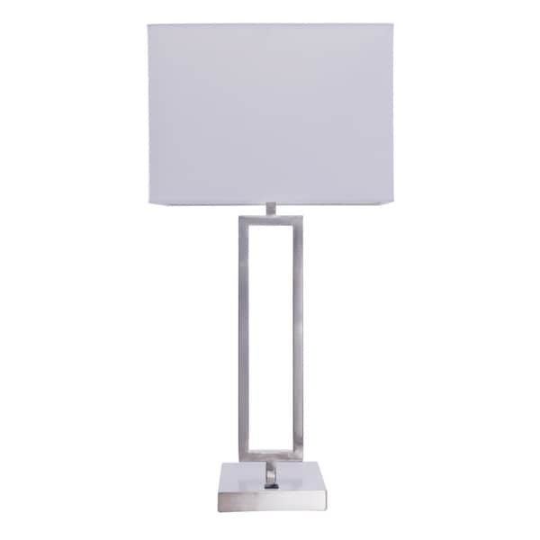 26-inch Modern Metal Table Lamp In Brushed Nickel Finish