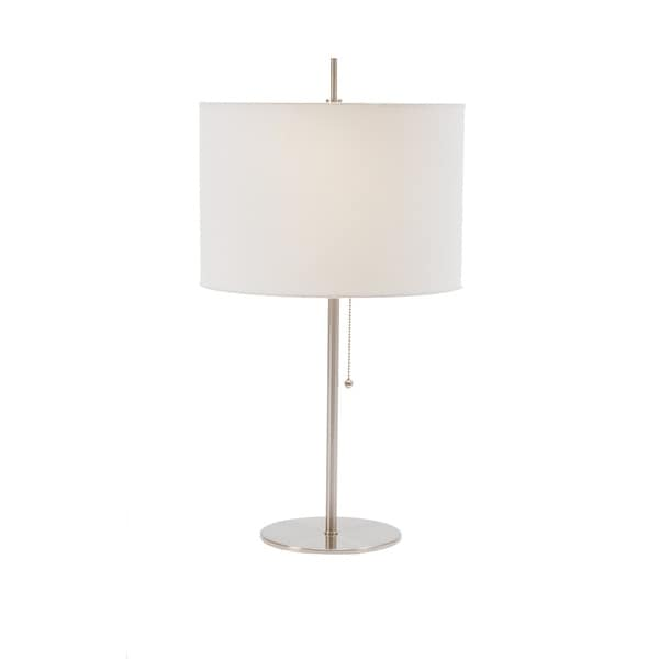 26-inch Metal Table Lamp In Brushed Steel With Pull Chain