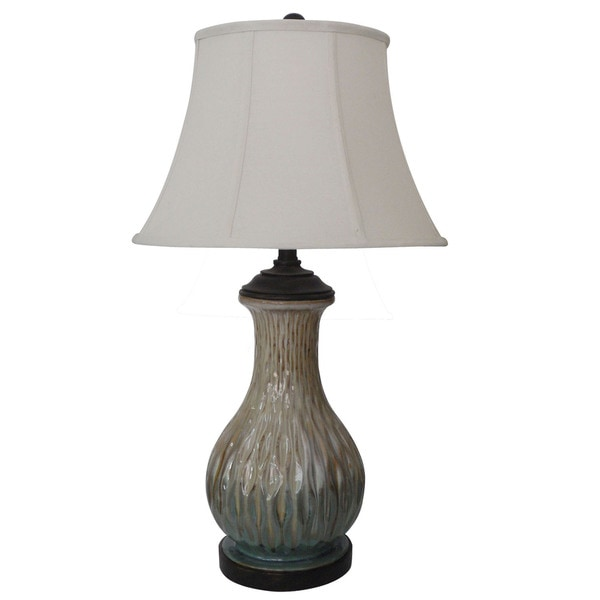 29.5-inch Green & Tan Ceramic Table Lamp with Gloss Warm Bronze Resin Accents