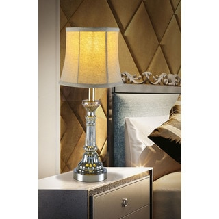 21-inch tall mercury glass and metal accent lamp.