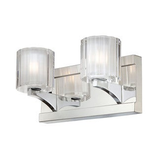 Alico Tiara Chrome and Slotted Clear Glass 2-light Vanity