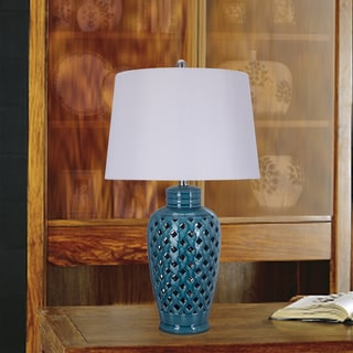 26 inch Blue Ceramic Table Lamp with Lattice Design