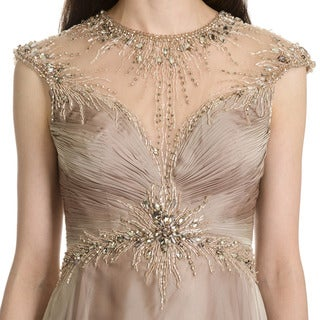 MacDuggal Women's Embellished Cap Sleeve Evening Dress
