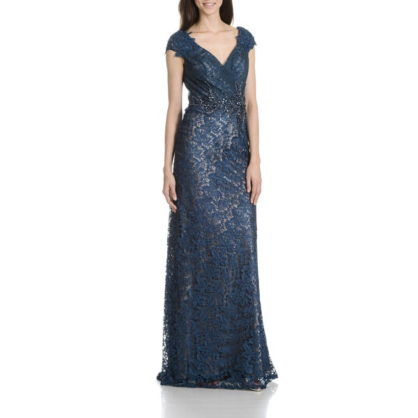 Shop Macduggal Women S Ink Lace Evening Gown Free