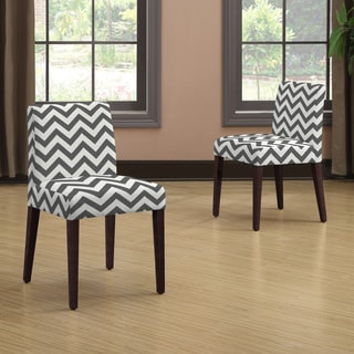 Handy Living Amity Charcoal Grey Zig Zag Armless Dining Chair Set (Set of 2)
