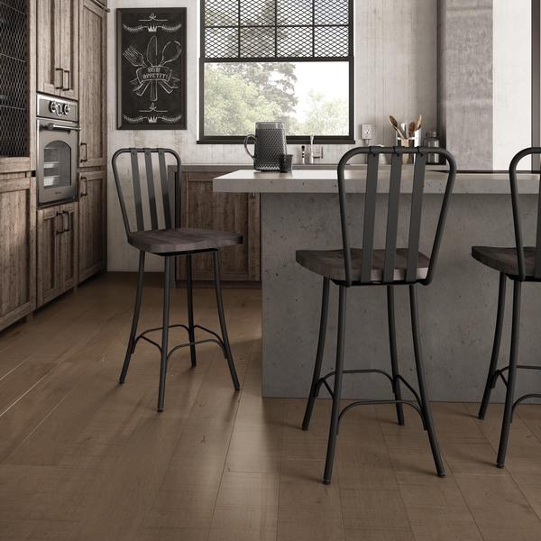 Amisco Bond Swivel Metal Barstool With Distressed Wood