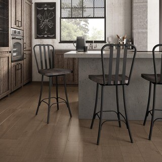 Amisco Bond Swivel Metal Barstool With Distressed Wood Seat