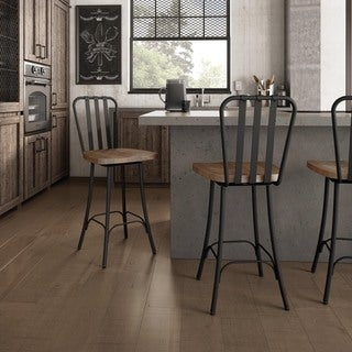 Carbon Loft Murdock Swivel Metal Counter Stool With Distressed Wood Seat