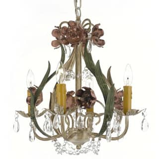 Fl Wrought Iron And Crystal 4 Light Chandelier Pendant