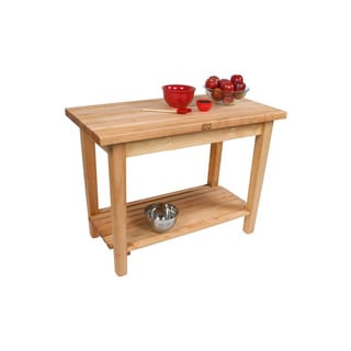 John Boos C10-D-2S Country Maple 48x36 Work Table 48x36 with Drawer / 2 Shelves & Henckels 13-piece Knife Block Set