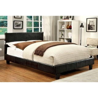 Furniture of America Bras Modern Espresso Faux Leather Platform Bed