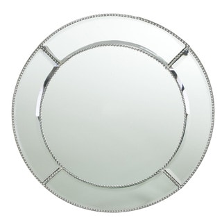 Beaded Accent Mirror Round Charger Plate 13-inchD