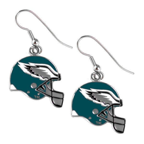 Philadelphia Eagles NFL Helmet Shaped J-Hook Silver Tone Earring Set Charm Gift