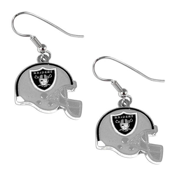 Oakland Raiders NFL Helmet Shaped J-Hook Silver Tone Earring Set Charm Gift