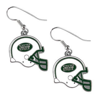 New York Jets NFL Helmet Shaped J-Hook Silver Tone Earring Set Charm Gift