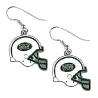New York Jets NFL Helmet Shaped J-Hook Silver Tone Earring Set Charm Gift