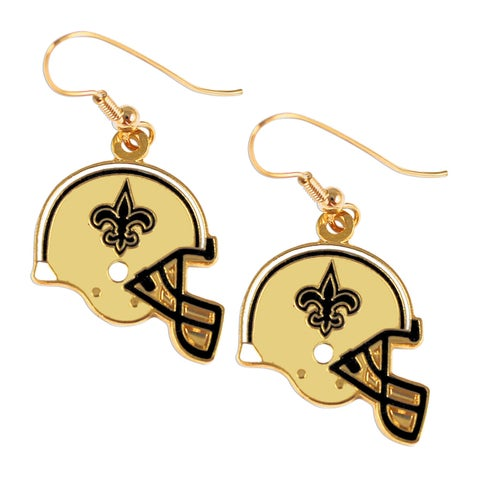 New Orleans Saints NFL Helmet Shaped J-Hook Gold Tone Earring Set Charm Gift