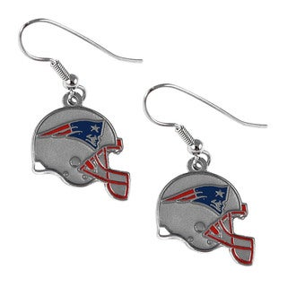 New England Patriots NFL Helmet Shaped J-Hook Silver Tone Earring Set Charm Gift