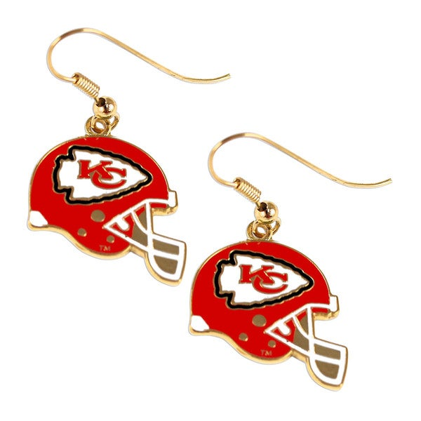 Kansas City Chiefs NFL Helmet Shaped J-Hook Gold Tone Earring Set Charm Gift