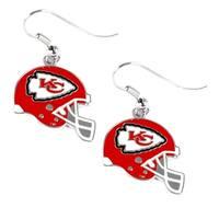 Kansas City Chiefs NFL Helmet Shaped J-Hook Gold Tone Earring Set Charm Gift