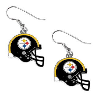Pittsburgh Steelers NFL Helmet Shaped J-Hook Silver Tone Earring Set Charm Gift