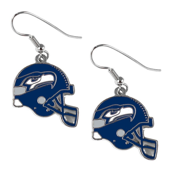 Seattle Seahawks NFL Helmet Shaped J-Hook Silver Tone Earring Set Charm Gift