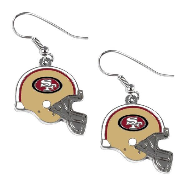 San Francisco 49ers NFL Helmet Shaped J-Hook Silver Tone Earring Set Charm Gift
