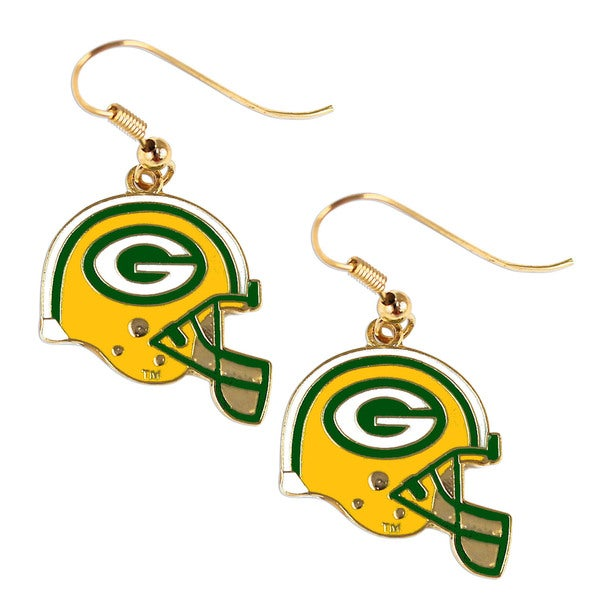 Green Bay Packers NFL Helmet Shaped J-Hook Gold Tone Earring Set Charm Gift