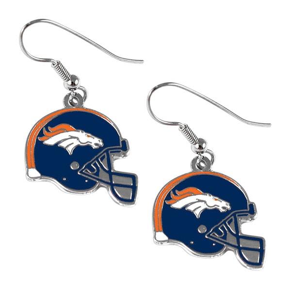 Denver Broncos NFL Helmet Shaped J-Hook Silver Tone Earring Set Charm Gift