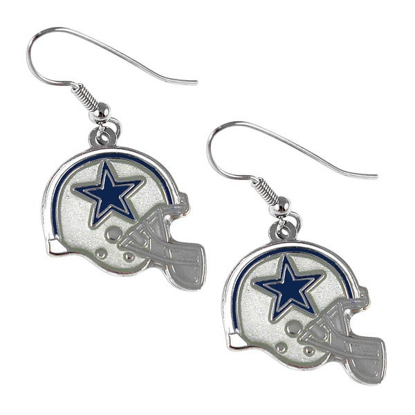 Dallas Cowboys NFL Helmet Shaped J-Hook Silver Tone Earring Set Charm Gift