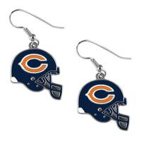 Chicago Bears NFL Helmet Shaped J-Hook Silver Tone Earring Set Charm Gift