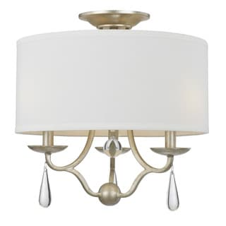 Crystorama Manning Collection 3-light Silver Leaf Semi Flush Mount