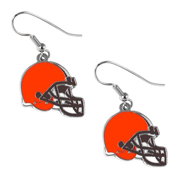 Cleveland Browns NFL Helmet Shaped J-Hook Silver Tone Earring Set Charm Gift