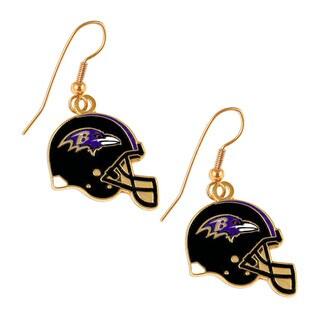 Baltimore Ravens NFL Helmet Shaped J-Hook Gold Tone Earring Set Charm Gift