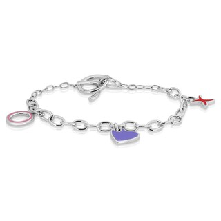 Eloquence Sterling Silver Diamond Accent 'XOXO' Charm Bracelet