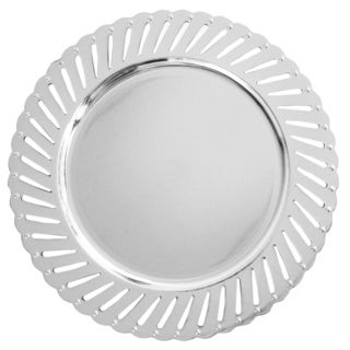 Track Silver Set of 4 Round Charger Plate
