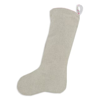 Natural Linen Lined Pink/ White Trimmed Stocking