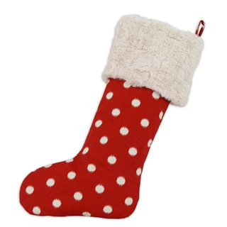 Red Ikat Dot Lined Trimmed Stocking