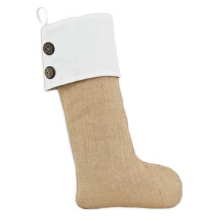 Natural Burlap with Duck White Band Christmas Stocking with White Tab and 2 Wooden Buttons