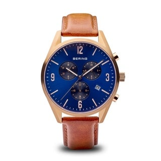 BERING Classic Slim Watch With Sapphire Crystal & Brown Calfskin Leather Strap