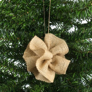 Natural Burlap Ball Ornament (Set of 6)