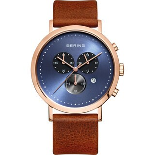 Bering Men's Brown Leather Classic Chronograph Watch