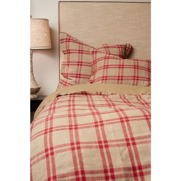 Neil Red Plaid Linen Duvet Cover Free Shipping Today